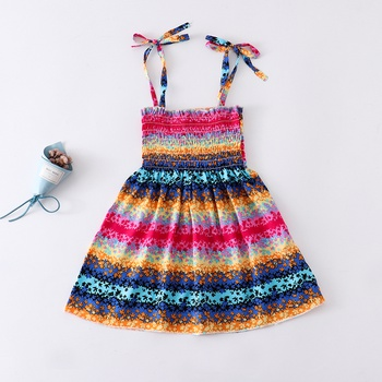 Baby Colorful Striped Strappy Dresses
