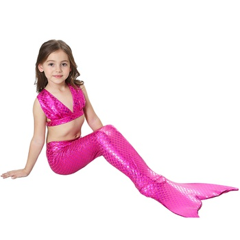 3-piece Toddler Girl Stylish Scale Top and Mermaid Bottom with Tail Swimsuit Set