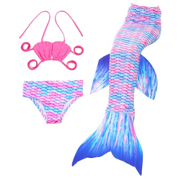 3-piece Toddler Girl Solid Halter Top and Scale Print Bottom with Tail Swimsuit Set