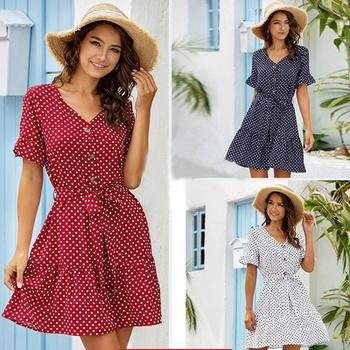 Pretty V Neck Short-sleeve Dots Flounce Dress