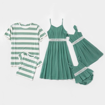 Mosaic Family Matching 100% Cotton Green Sets (Hollow Out Lace Flutter-sleeve Tank Dresses - Stripe T-shirts -Rompers)