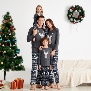 ' Be Wild and Free' Reindeer Antler Family Matching Pajamas Set (Flame resistant)