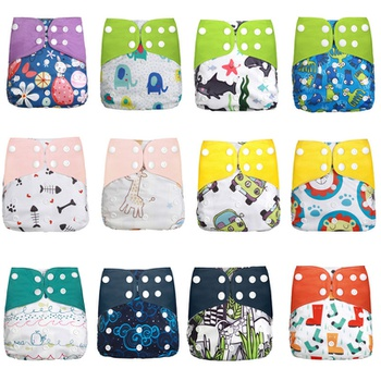 Cute Baby Washable Adjustable Cloth Diaper Waterproof Breathable Eco-friendly Diaper Without Insert