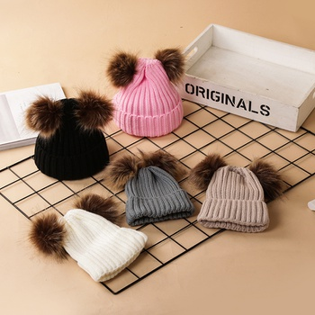 Baby / Toddler Fashionable Solid Pompon Knitted Hat