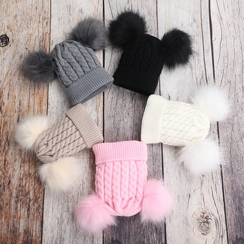 Baby / Toddler Solid Pompon Kintted Hat