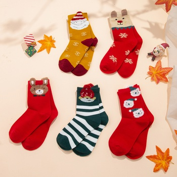5-pack Toddler / Kid Christmas Middle Socks ( Various colors )