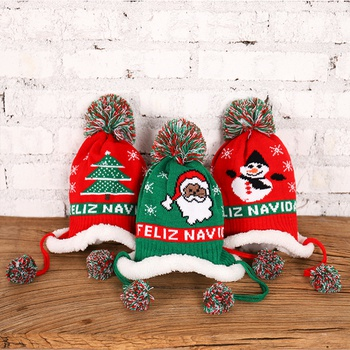 Baby / Toddler Christmas Pompon Fleece Knitted Hat