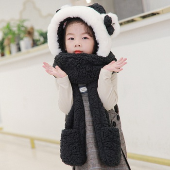 Kid Adorable Ear Decor Thermal Hat with Scarf and Gloves