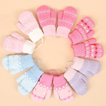 Toddler Adorable Sweet Fleece Knitted Thermal Gloves