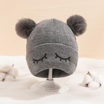 Baby / Toddler Pompon Eyelash Knitted Hat