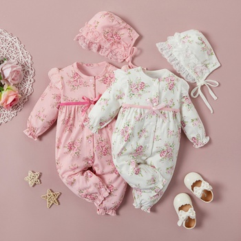 Baby Floral Print 100 Day Party Jumpsuit with Hat