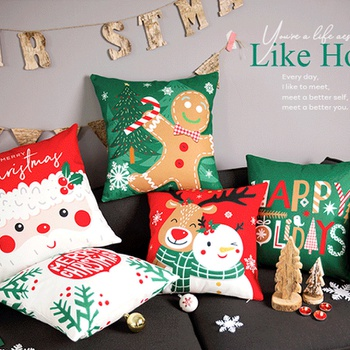 Christmas PP Cotton Fiber Printed Pillowcase