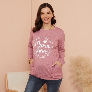 Maternity Round collar Letter  Litooffset print Hoodie