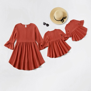 Solid Bell Sleeve Matching Dresses