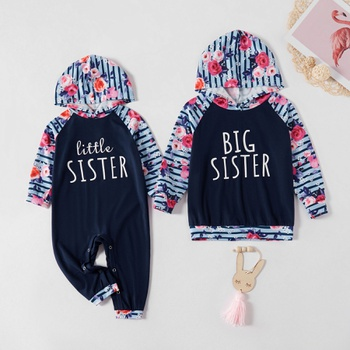Mosaic Family Matching Stripe Floral Sister Hoodie Sets