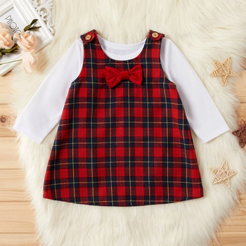 2-piece Baby / Toddler Solid Top and Plaid Bowknot Decor Dress Set
