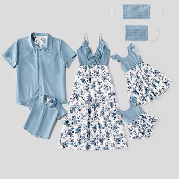 Mosaic 100% Cotton Family Matching Sets(Floral Flounce Tank Dresses - Denim Tops - Rompers -Masks)