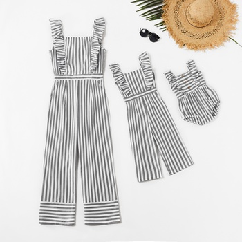 Mommy and Me 100% Cotton Striped Tank Jumpsuits