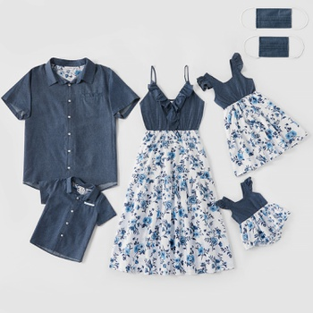 Mosaic Family Matching Cotton Sets(Floral Flounce Tank Dresses - Denim Tops - Rompers -Masks)