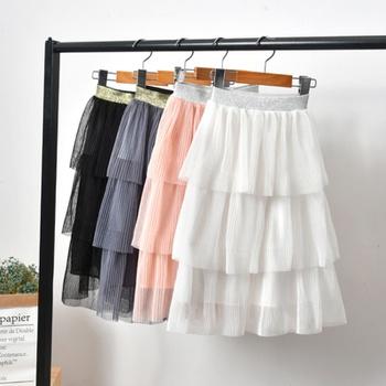 Fashionable Solid Cake Mesh Skirts