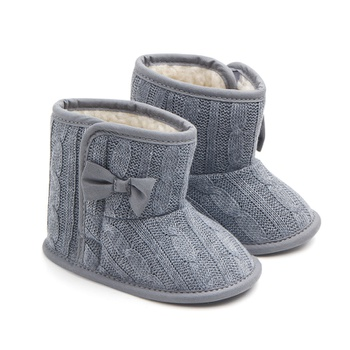 Baby / Toddler Girl Solid Bowknot Decor Knitted Furry Shoes