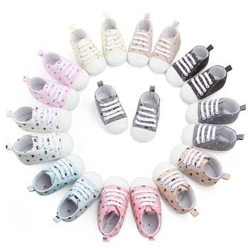 Baby / Toddler Cartoon Pattern Allover Lace-up Canvas Prewalker Shoes
