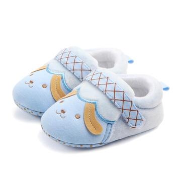 Baby / Toddler Doggy Plaid Ruffled Bowknot Velvet Prewalker Shoes