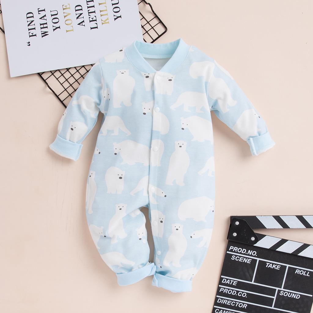 BPrince Babies Velvet Fleece Dotted Animal Appliques Button Up Hooded Jumpsuit