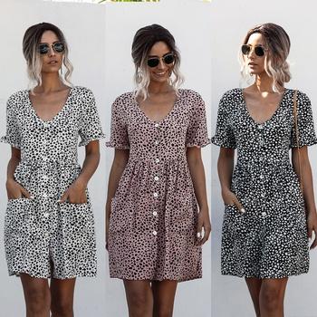 Casual V Neck Short-sleeve Dots Ruffle Dress