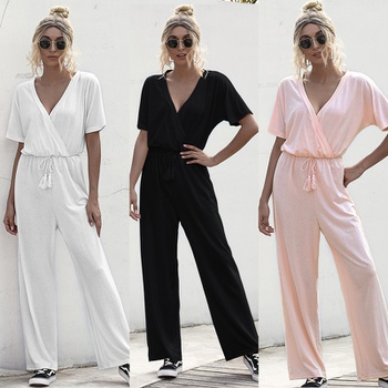 Casual V Neck Solid Jumpsuit