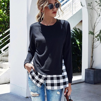 Round collar Plaid Black Positioning print long sleeve casual Pullover shirt