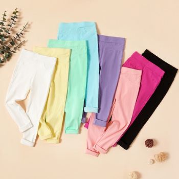 Simple Solid Fitted Pants For Girls