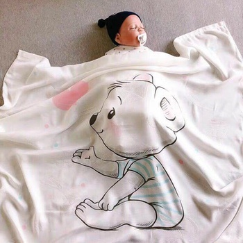 Cartoon Animal Print Cotton Baby Softness Breathable Blanket