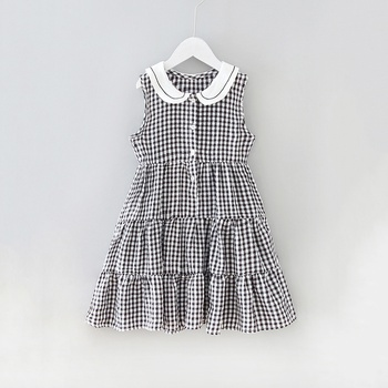 Stylish Plaid Princess Sleeveless Dress
