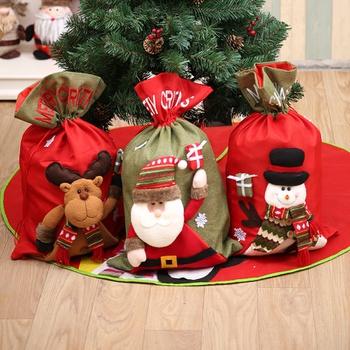 Christmas Santa Claus Linen Snowman Elk Gift Bag Decor