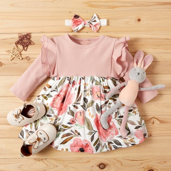 2-piece Baby / Toddler Floral Print Splice Dress and Headband Set