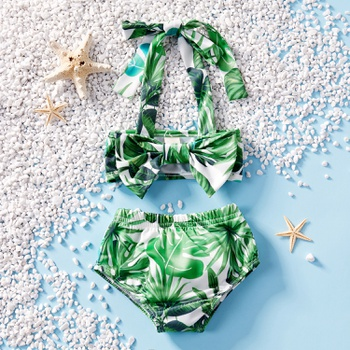 Leaf Print Halter Top and Shorts Swimsuit Set