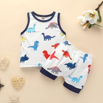 Baby Boy Casual Cartoon Dinosaur Allover Tank and Shorts Set