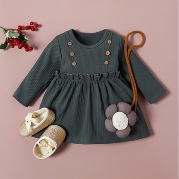 Baby / Toddler Solid Long-sleeve Ruffled Dress
