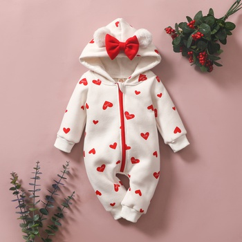 Baby Sweet Bowknot Heart or Strawberry Hooded Jumpsuit