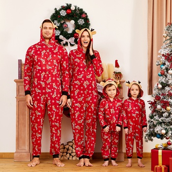 Mosaic Reindeer Family Matching Onesie Pajama for Dad - Mom - Kid - Baby (Flame Resistant)