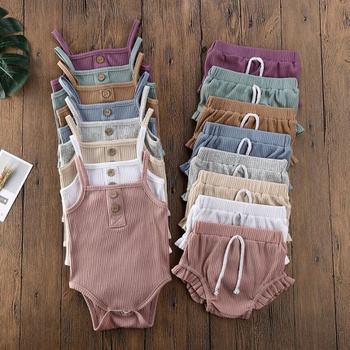 Baby Pleated Strappy Bodysuit and Shorts Set
