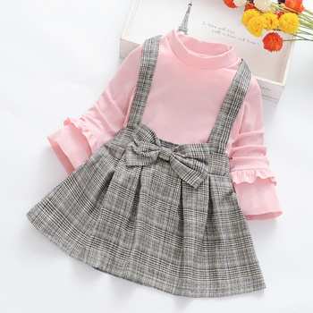 Baby / Toddler Faux-two Bowknot Decor Plaid Dress
