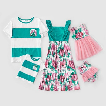 Mosaic Family Matching Floral Flutter-sleeve Tank Mesh Dresses Color Block Tops for Dad-Mom-Boy-Girl-Baby