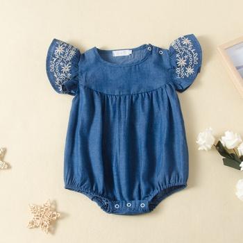 Baby Embroidered Denim Flutter-sleeve Rompers