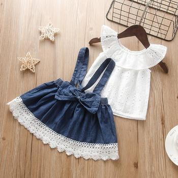 Baby Sweet Solid Top and Denim Suspender Skirt Set