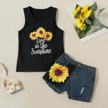 Pretty Sunflower Letter Print Tank and Denim Shorts Set