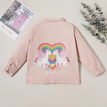 Stylish Unicorn Rainbow Button Lapel Collar Longsleeves Coat Jacket
