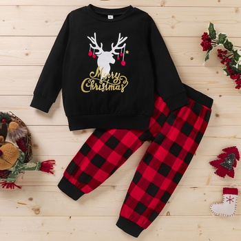 2-piece Baby / Toddler Christmas Print Pullover and Plaid Pants Set