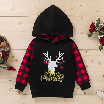 Baby / Toddler Christmas Plaid Long-sleeve Hooded Pullover